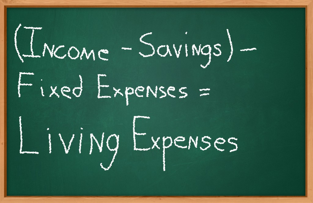 (Income – savings) – fixed expenses = living expenses