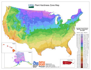 USDA Cold Hardiness Zone Map 2012